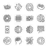 Inteligencia artificial El icono del vector fijó para el concepto del AI de la inteligencia artificial Diversos símbolos para el  Imagen de archivo