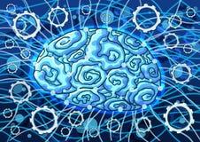 Inteligencia artificial en la pintura azul del fondo stock de ilustración