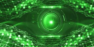 Inteligencia artificial en la red global Tecnologías de Digitaces del futuro Control mental del ordenador stock de ilustración