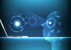 Inteligencia artificial, fondo abstracto futurista de la siguiente generación de la tecnología digital, ejemplo del vector del po ilustración del vector