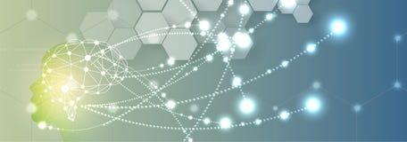 Inteligencia artificial Fondo del web de la tecnología Concentrado virtual Imagen de archivo