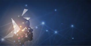 Inteligencia artificial Fondo del web de la tecnología Concentrado virtual Imágenes de archivo libres de regalías