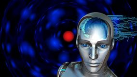 Inteligencia artificial - mujer del robot con el cerebro humano foto de archivo libre de regalías