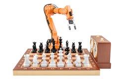 Inteligencia artificial que juega el concepto del ajedrez, representación 3D Imagenes de archivo