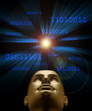 Inteligencia artificial según lo simbolizado por el vuelo azul del código binario Imagen de archivo