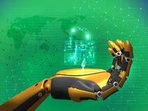 Inteligencia artificial, seguridad de datos, concepto de la aislamiento, cerradura de la tenencia del robot, fondo azul del extra libre illustration