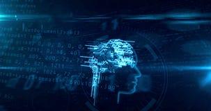 Inteligencia artificial y cerebro cibernético con la animación del lazo de la forma de la cara ilustración del vector