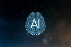 Inteligencia de AIArtificial del concepto Redes neuronales, m?quina y aprendizaje profundo ilustración del vector