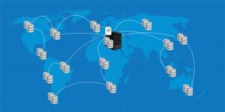 Inteligencia empresarial interconectada distribución del análisis de la base de datos Foto de archivo libre de regalías
