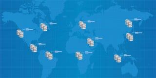 Inteligencia empresarial interconectada distribución del análisis de la base de datos Imagen de archivo libre de regalías