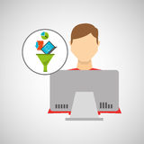 Inteligent man working laptop data analytics. Vector illustration eps 10 Stock Photo