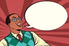 Inteligentny afrykanin z szkłami mówi komicznego bąbel royalty ilustracja