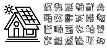 Inteligentny budynek ikony set, konturu styl ilustracja wektor
