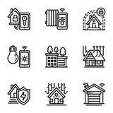 Inteligentny budynek ikony set, konturu styl ilustracji