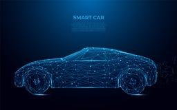 inteligentny samochód Abstrakcjonistyczny wizerunek mądrze samochód w postaci gwiaździstej przestrzeni lub nieba Przyśpiesza, jed royalty ilustracja