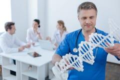 Inteligentny student medycyny obserwuje genetycznego kodu modela przy szpitalem Obrazy Royalty Free
