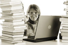 Intellect. Student with a laptop. Shot in studio royalty free stock photo
