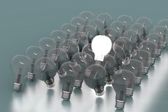 Intellect. Creativity Concept with Light Bulb Glowing in 3d Royalty Free Stock Images