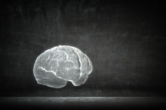 Intellect and brainstorming. Human brain shadow sign on concrete wall stock images