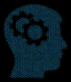 Intellect Gears Collage Icon of Halftone Circles. Halftone Intellect gears collage icon of circle elements in blue color tinges on a black background. Vector Stock Images