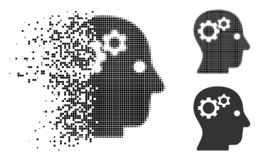Broken Dot Halftone Intellect Gears Icon. Intellect gears icon in disappearing, dotted halftone and undamaged entire variants. Fragments are composed into vector royalty free illustration