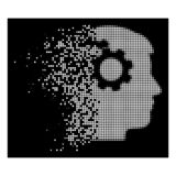 White Dispersed Pixel Halftone Intellect Gears Icon. Intellect gears icon with dissipated effect on black background. White particles are composed into vector vector illustration