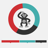 Intellect infographics. Monkey or ape and radial diagram. Design. Element.  Flat design Royalty Free Stock Photos