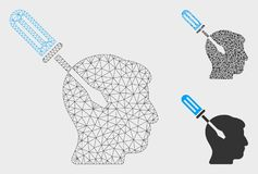 Intellect Screwdriver Tuning Vector Mesh Wire Frame Model and Triangle Mosaic Icon. Mesh intellect screwdriver tuning model with triangle mosaic icon. Wire stock illustration