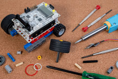 Intellectual development DIY robot toy assembly kit. Intellectual development DIY robot toy assembly kit with microcontroller Royalty Free Stock Image