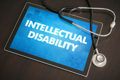 Intellectual disability (congenital disorder) diagnosis medical. Concept on tablet screen with stethoscope Royalty Free Stock Image