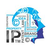 Intellectual property. Copyright Protection symbol and words on human heads illustrating intellectual property vector illustration