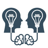 Intellectual property and ideas - head with light bulb Stock Photography