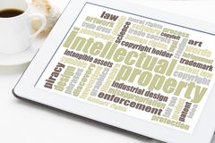 Intellectual property word cloud. On a digital tablet with a cup of coffee Stock Photography