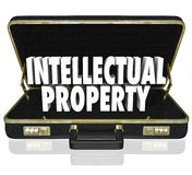 Intellectual Property Words Briefcase Business License Copyright. Intellectual Property 3d words in a black leather briefcase to illustrate a business offering Stock Photography