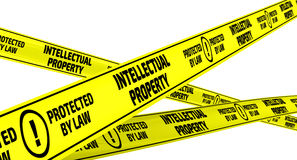 Intellectual property. Yellow warning tapes Stock Image