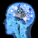 Intellectual thinker. Human xray with gears for brains, grunge concept Royalty Free Stock Image