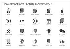 intellectuele eigendom/IP pictogramreeks Concept octrooien, handelsmerk en auteursrecht Stock Afbeelding