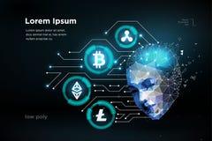 Intellegence artifitial del cervello umano digitale di cryptocurrency della moneta Grandi dati illustrazione vettoriale