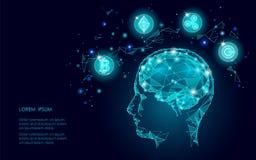 Intellegence artifitial digital del cerebro humano del cryptocurrency de la moneda de la ondulación de Ethereum Bitcoin Explotaci stock de ilustración