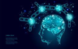 Intellegence artifitial digital del cerebro humano del cryptocurrency de la moneda de la ondulación de Ethereum Bitcoin Explotaci ilustración del vector