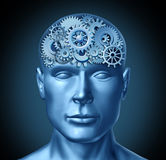 Intelligence. Brain function represented by a human head with gears and cogs showing brain health activity showing the concept of alzheimer disease and Royalty Free Stock Photos