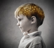 Intelligence. Profile of a child with trundles in his head Royalty Free Stock Photos