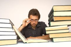 Intelligence. An image of man with books Stock Photo
