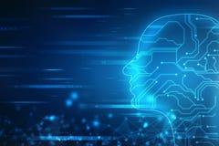 Intelligence artificielle abstraite Fond de Web de technologie Contour de tête humaine avec des codes binaires illustration stock