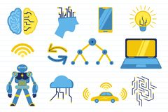 Intelligence artificielle d'AI avec de divers objets et ligne fond - illustration de papier de vecteur illustration libre de droits