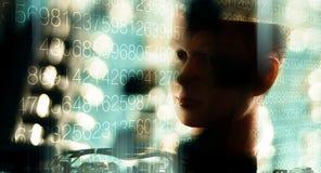Intelligence artificielle d'apprentissage automatique, fond defocused de technologie Image libre de droits