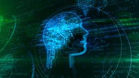 Intelligence artificielle et cerveau cybern?tique avec la forme de visage