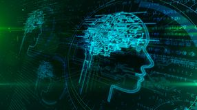 Intelligence artificielle et cerveau cybern?tique avec la forme de visage illustration libre de droits