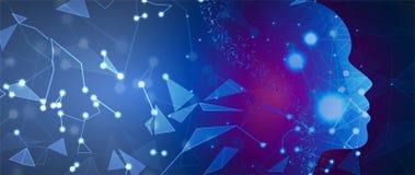 Intelligence artificielle Fond de Web de technologie Concentré virtuel Photos stock