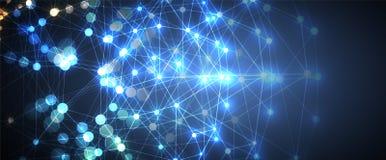 Intelligence artificielle Fond de Web de technologie Concentré virtuel Images libres de droits